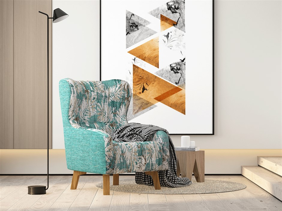 Armchair High back Lounge Accent Chair Designer Printed Fabric Wooden Leg