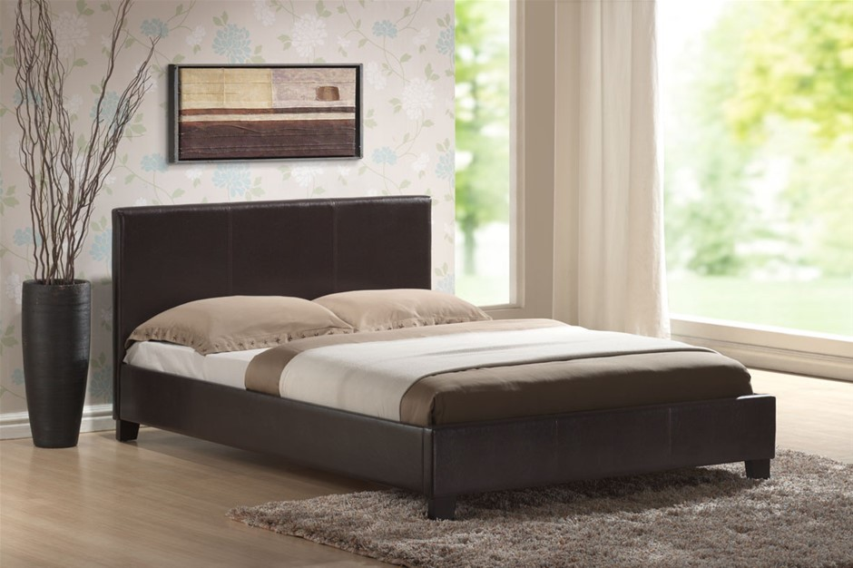Queen Size Leatheratte Bed Frame in Brown Colour with Metal Joint Slat Base