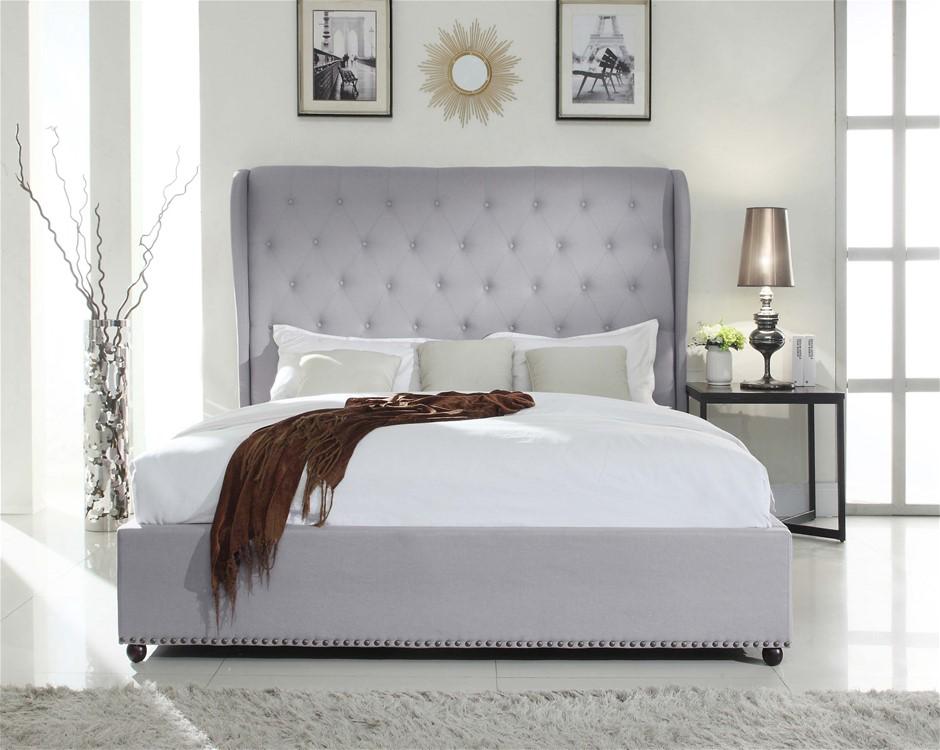 French Provincial Design Wing Upholstered Paris Bed frame
