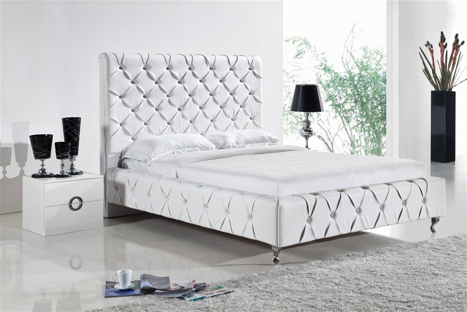 Queen Size Bed Frame in White Faux Leather Crystal Tufted High Bedhead Slat