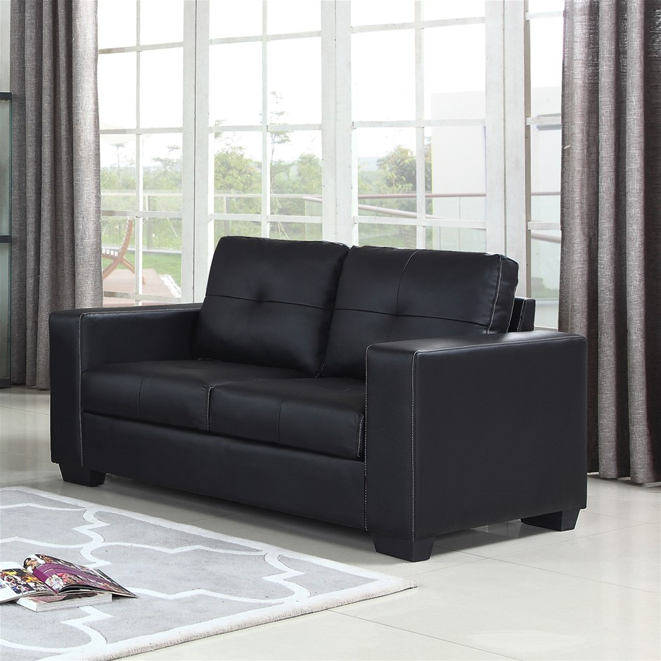 2 Seater Lounge Leatherette Sofa Couch with Wooden Frame in Black Colour