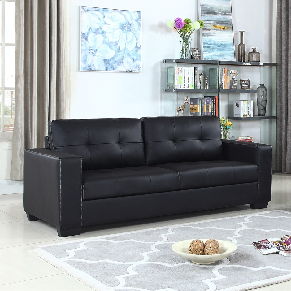 stylish black sofa is fully upholstered with high quality faux leather