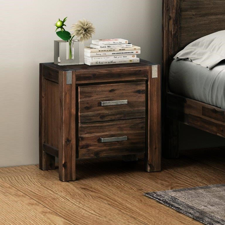 Java bedside table has a simple appearance made from Solid Acacia Frames