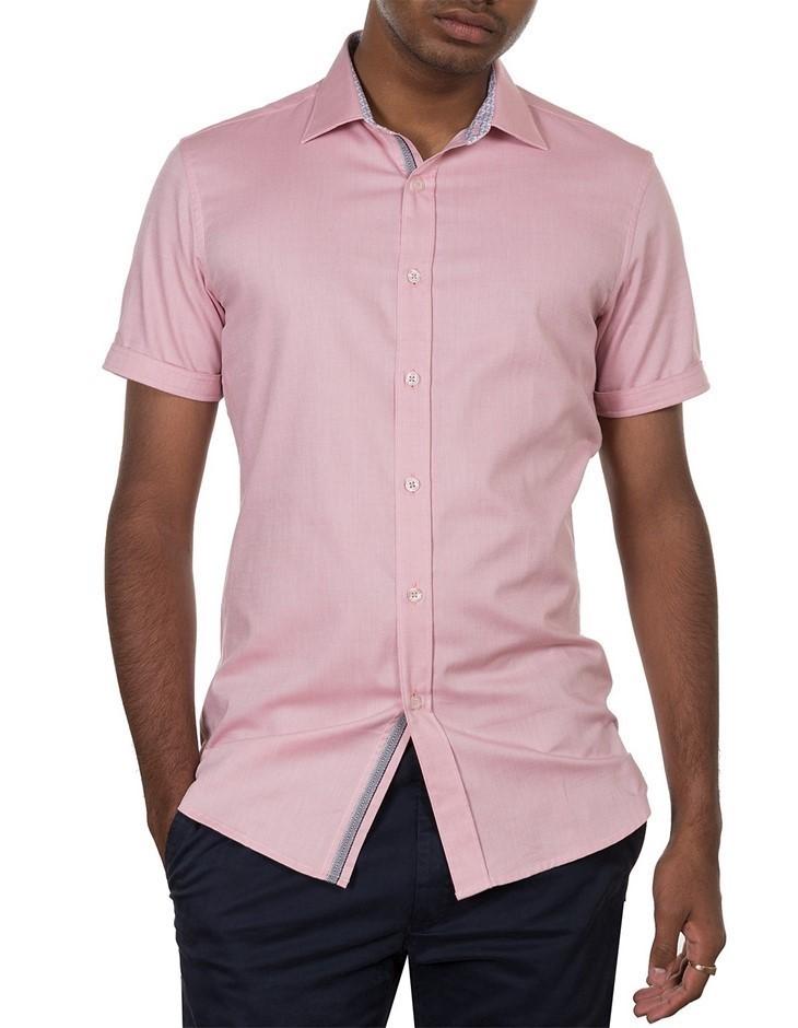 JAMES HARPER Oxford Short Sleeve Shirt. Size L, Colour: Pink. 100% Cotton.