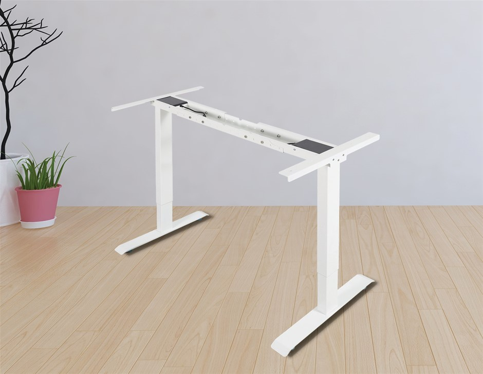 Palermo Standing Desk Sit Stand Height Adjustable Motorised WHT Frame Only