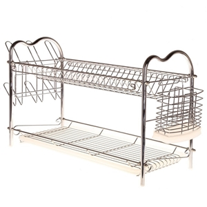 Chrome Finish Dish Drainer. 2 Layer. Dim