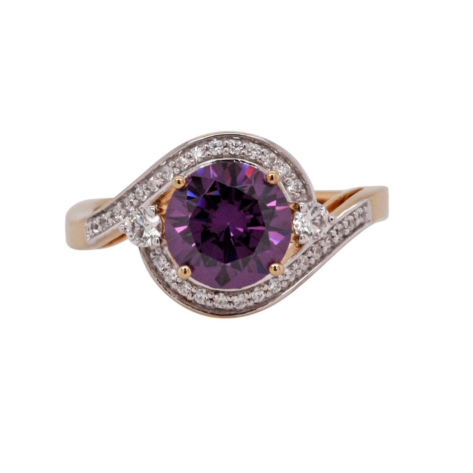Ladies Yellow Gold Vermeil Medium Purple & White CZ Dress Ring.