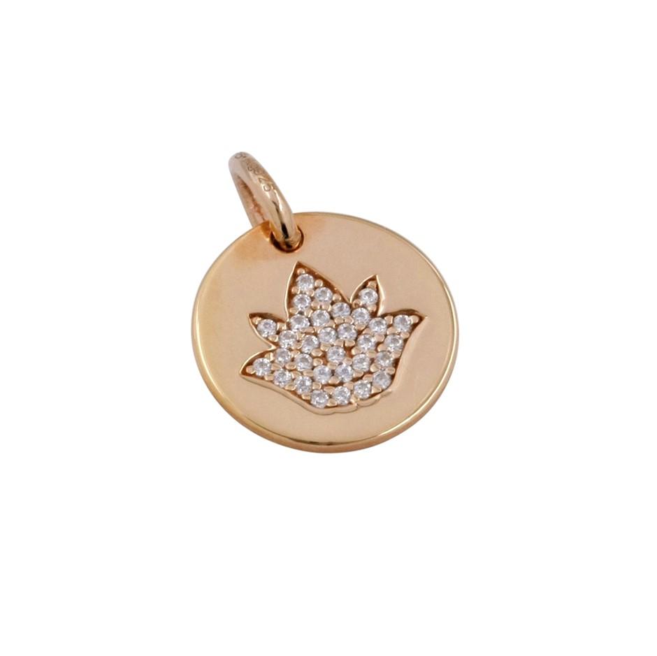 Thomas Sabo Rose Gold Plated Pave CZ Lotus Pendant