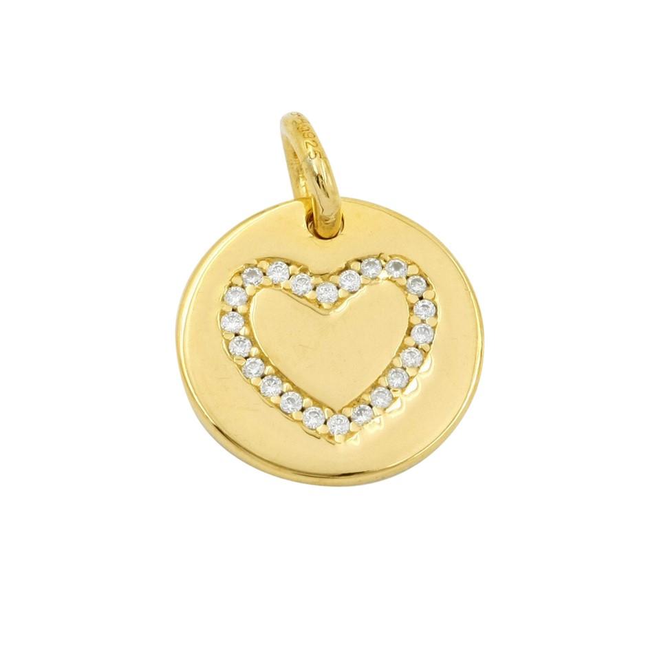 Thomas Sabo Yellow Gold Plated Engravable Heart Coin Pendant.