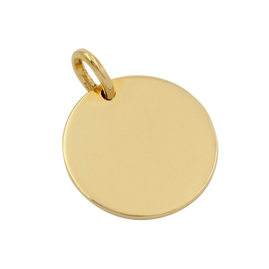Thomas Sabo Yellow Gold Plated Large Plain Engravable Coin Pendant.