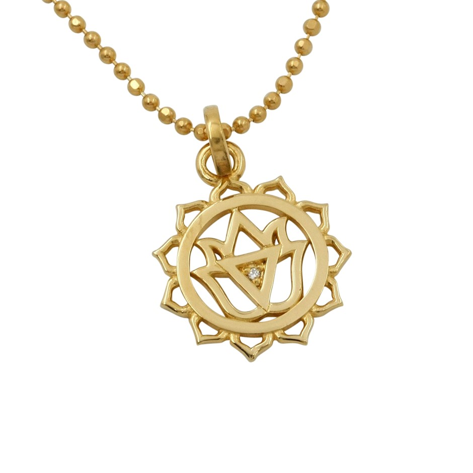 Thomas Sabo Yellow Gold Plated Navel Chakra Necklace.