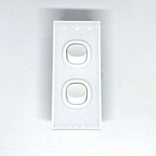 Qty 10 x Lumex Silica Glass Wall Light Switch Architrave 2 Gang 16A