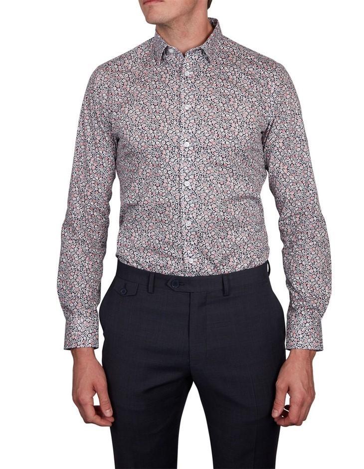 ABELARD Pinzolo Print Shirt. Size XL, Colour: Navy Red. 100% Cotton. Buyers