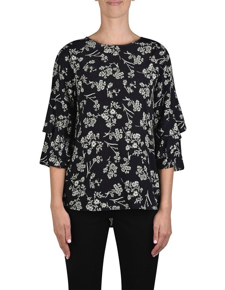 JUMP Antique Floral Ruffle Top. Size 14, Colour: Black. 100% Viscose Crepe.