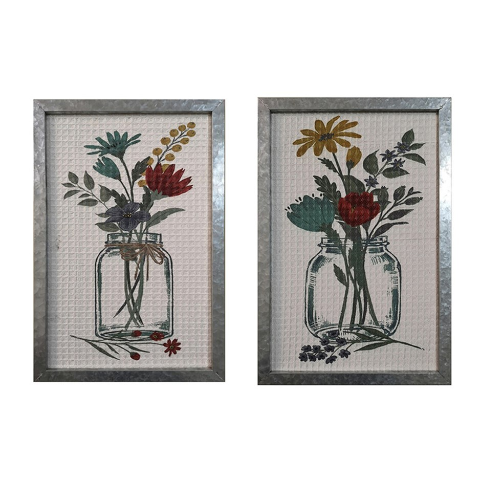 2pc Flowers in Jar Textured w/ Galvanised 60cm Frame Wall Art Assorted