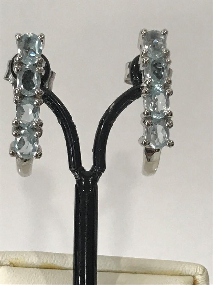 Brilliant Blue Topaz 2.80ct 18K W/Gold Vermeil Stud Earrings