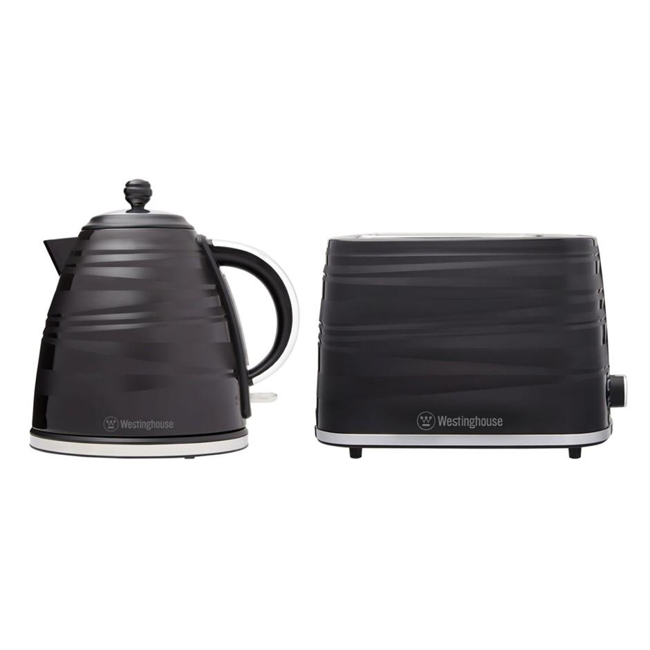 Westinghouse Plastic 1.7L kettle & 2 Slice Toaster Pack - Black