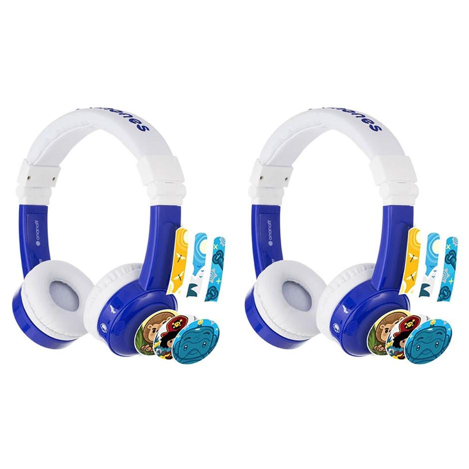 2PK Buddyphones In Flight Headphones w/ Airline Adapter 3y+ - Blue