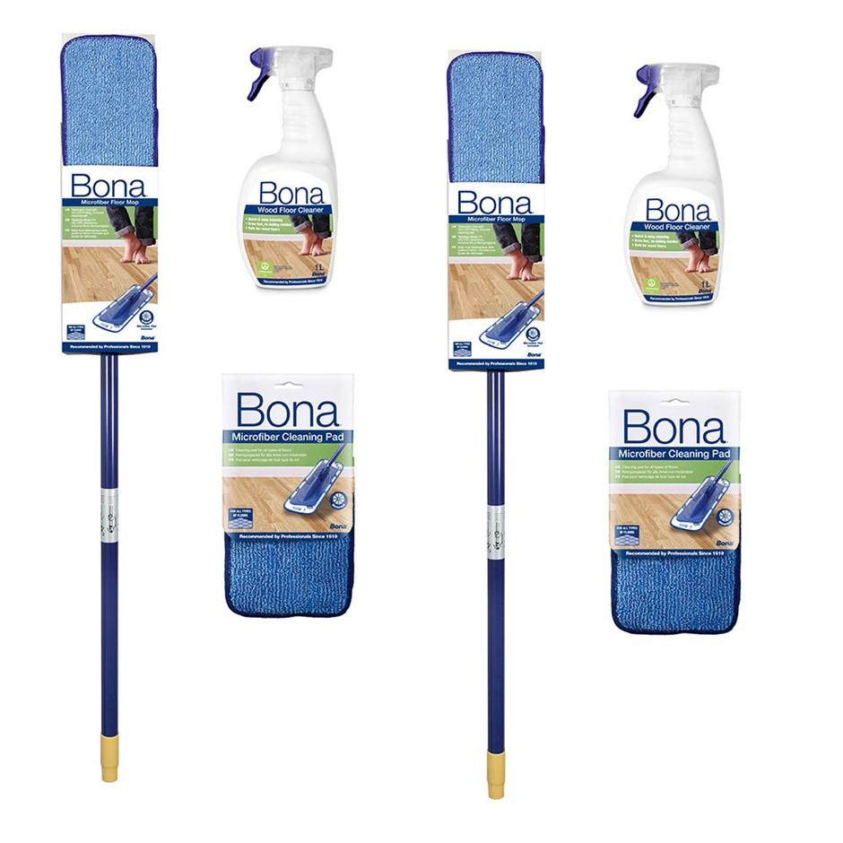 2PK Bona Wood/Timber Floor/Surface Cleaning Kit Mop/Spray Bottle/Microfiber