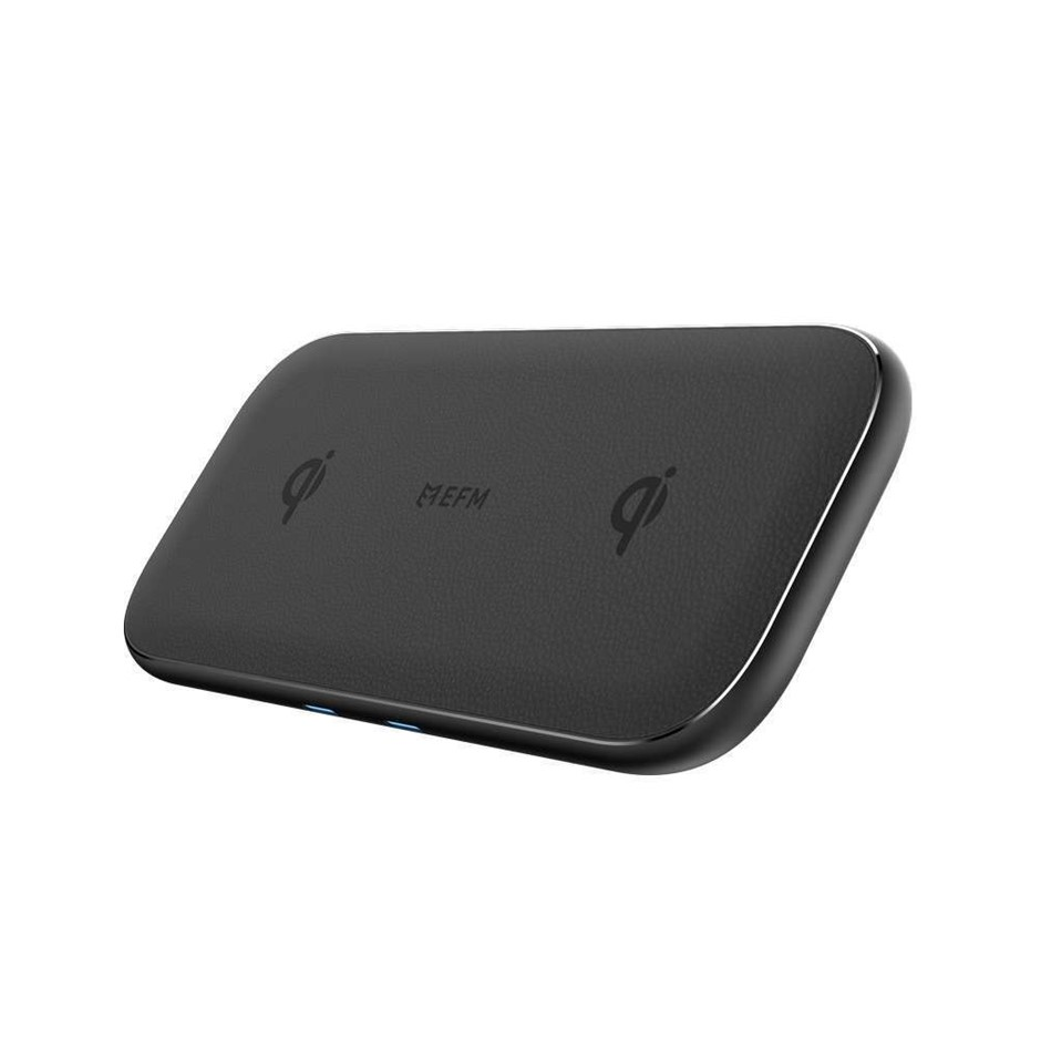 EFM 15W Dual Leather Wireless Charge Pad With 30W Wall Charger Graphite