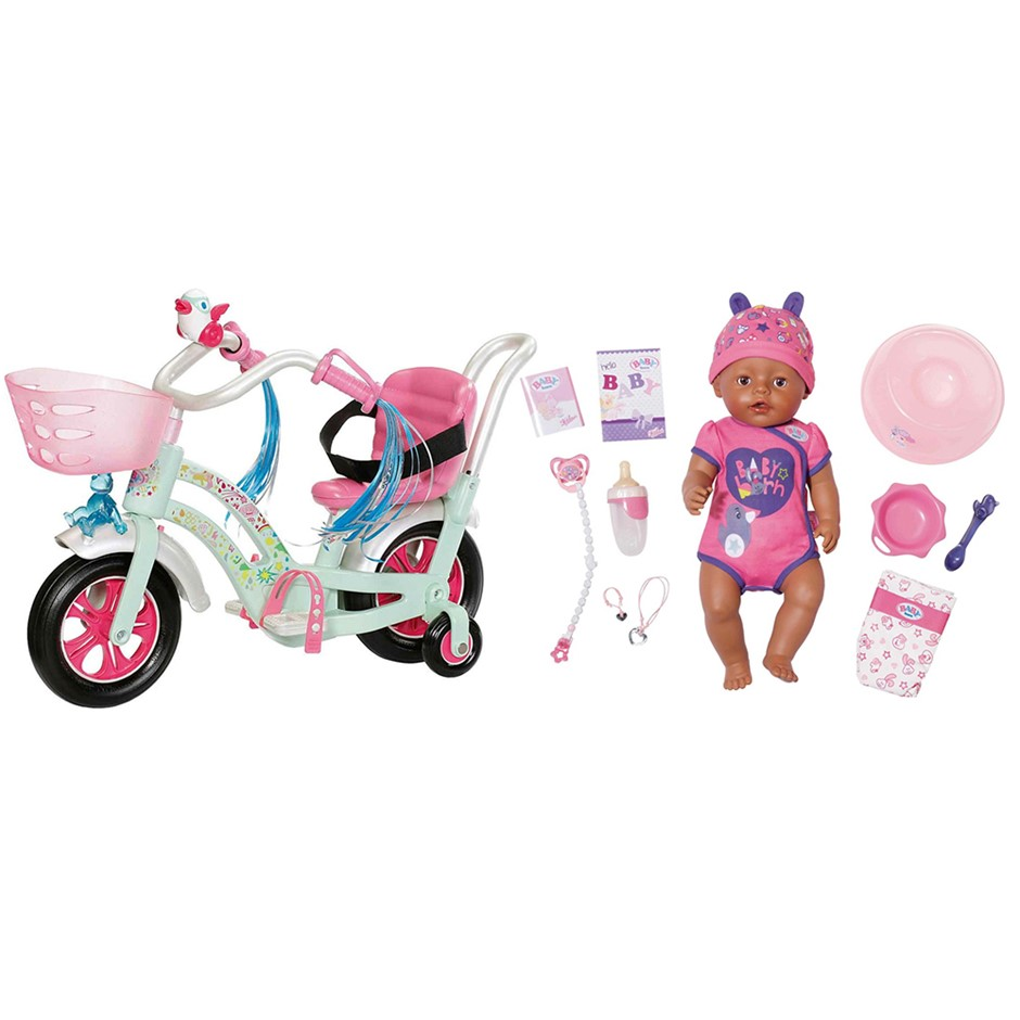 43cm Baby Born Soft Touch Girl Doll & Play & Fun Bike Combo 3y+