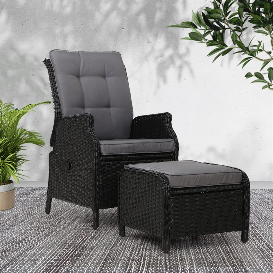 Gardeon Recliner Chair lounge Setting Outdoor Furniture Patio Wicker Sofa