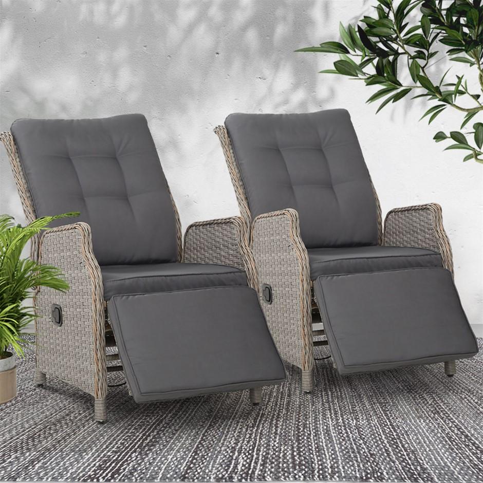 Gardeon Recliner Sun lounge Outdoor Furniture Setting Patio Wicker Sofa 2pc
