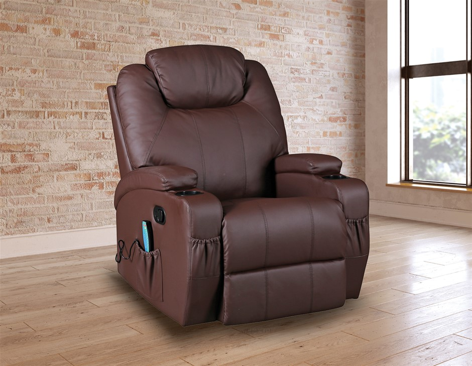 Brown Massage Sofa Chair Recliner 360 Degree Swivel Lounge 8 Point Heated