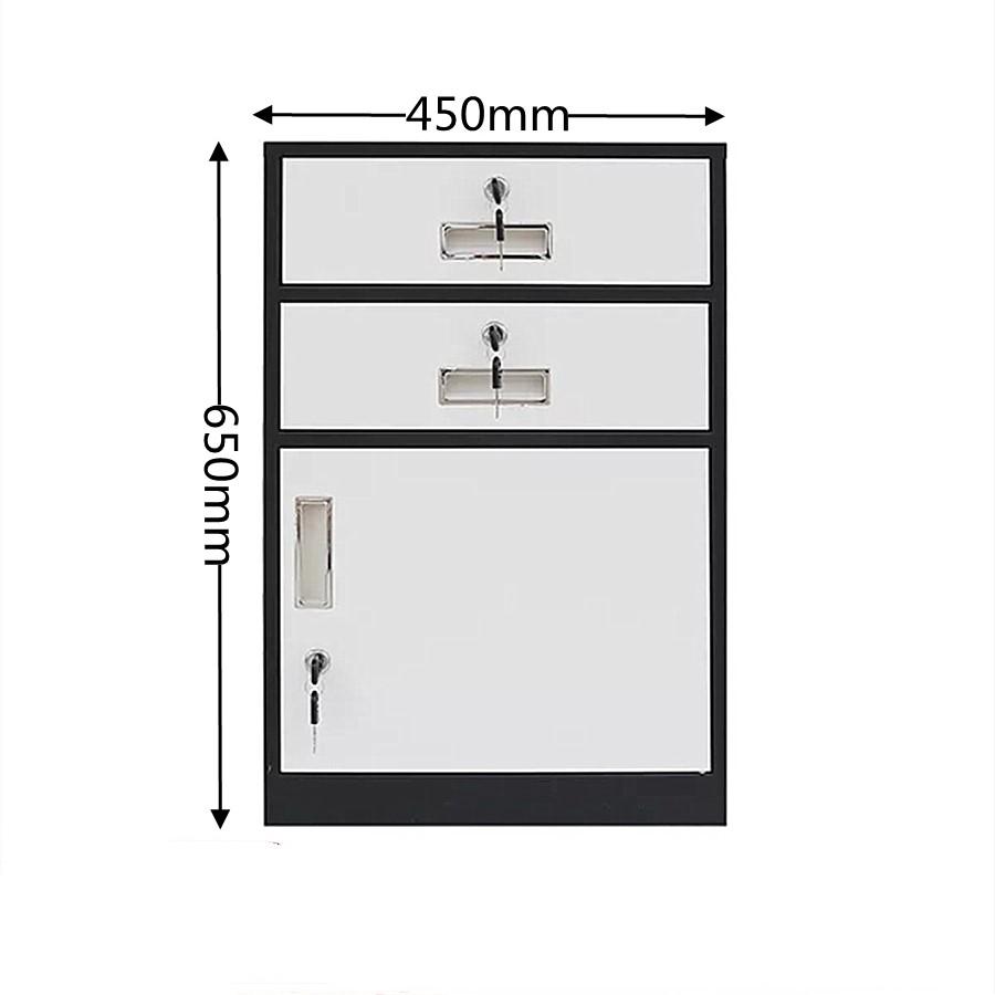 Two Drawer One Door Pedestal