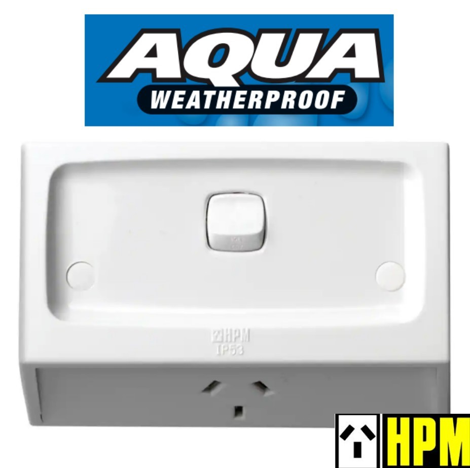HPM AQUA Weatherproof IP53 Flush Switched Powerpoint Outlet Socket 10A WE