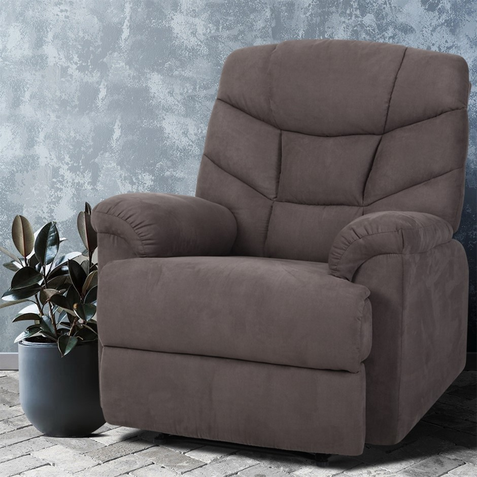 Artiss Recliner Chair Luxury Lounge Sofa Chairs Foam Padded Suede Fabric