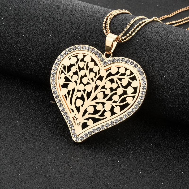18k yellow Gold-filled Crystal Double Heart Necklace&Pendants