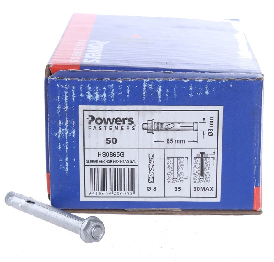 Pack of 50 x POWERS Galv. Sleeve Anchors 65mm x 8mm, Hex Head. Buyers Note
