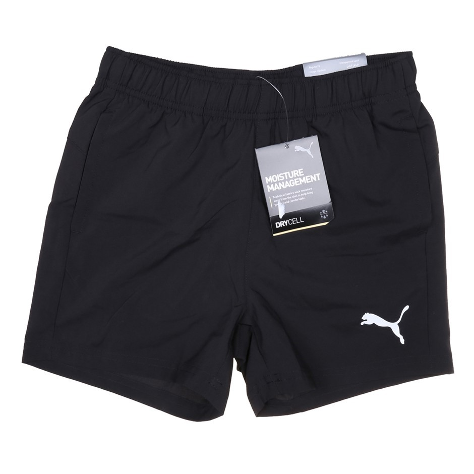 PUMA Boy`s Active Woven Shorts, Size 11-12Y, Polyester, Black. Buyers Note