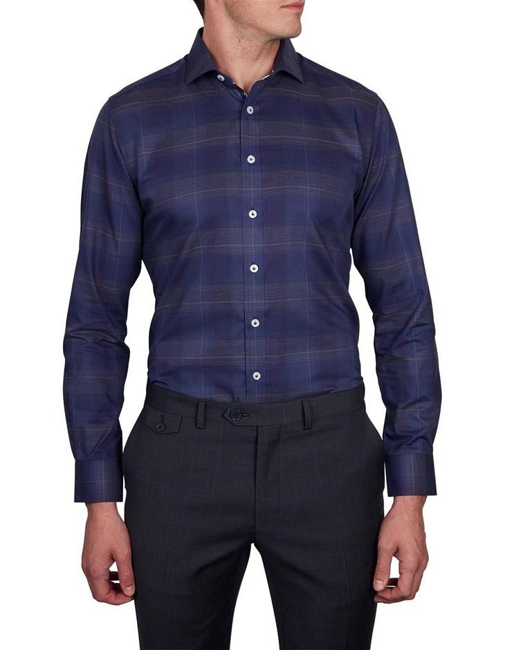 ABELARD Campadenno Check Slim Fit Shirt. Size S, Colour: Royal. 100% Cotton