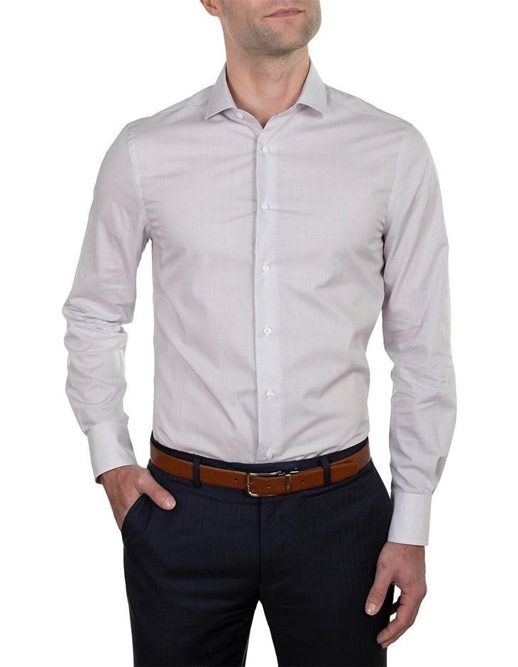 HARDY AMIES Micro Check Slim Fit Shirt. Size 42, Colour: Grey. 100% Cotton.