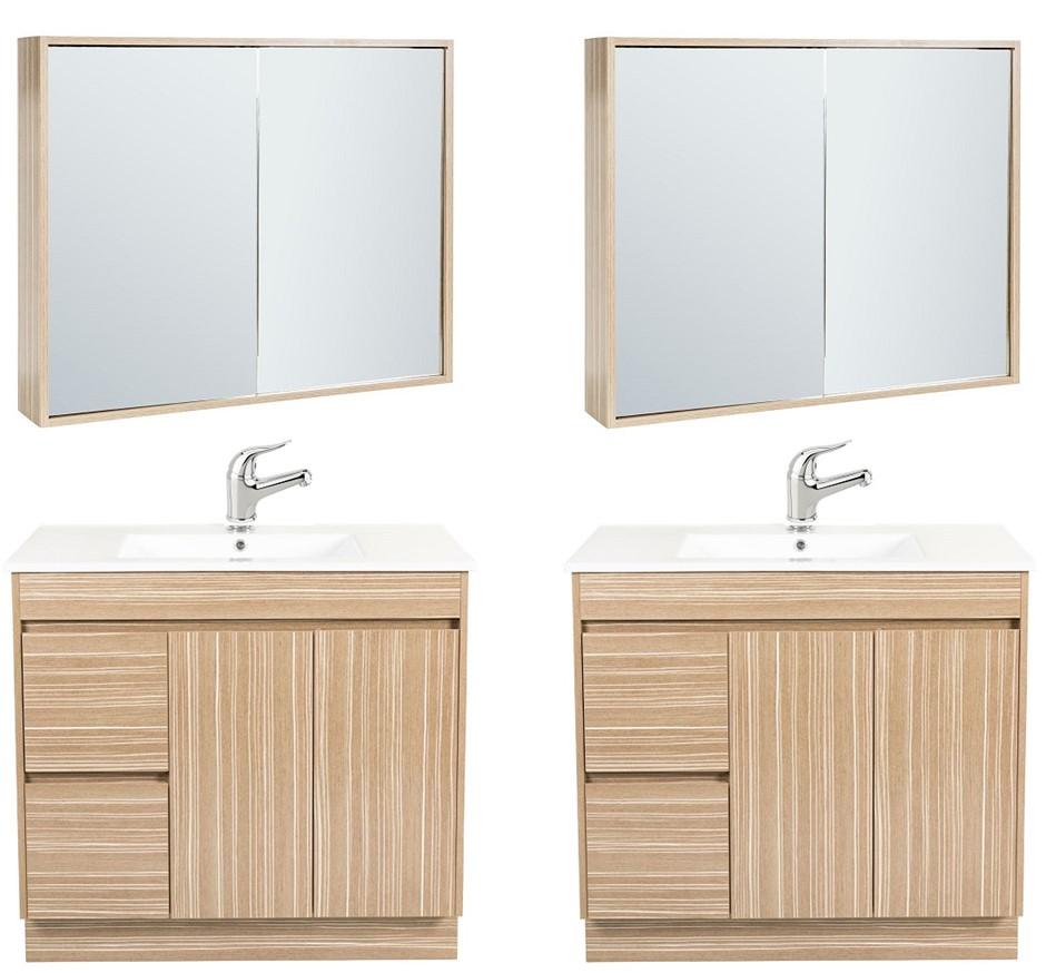 (2 Pack) Premium 900mm Bathroom Vanity Package with Mirror & Basin Mixer
