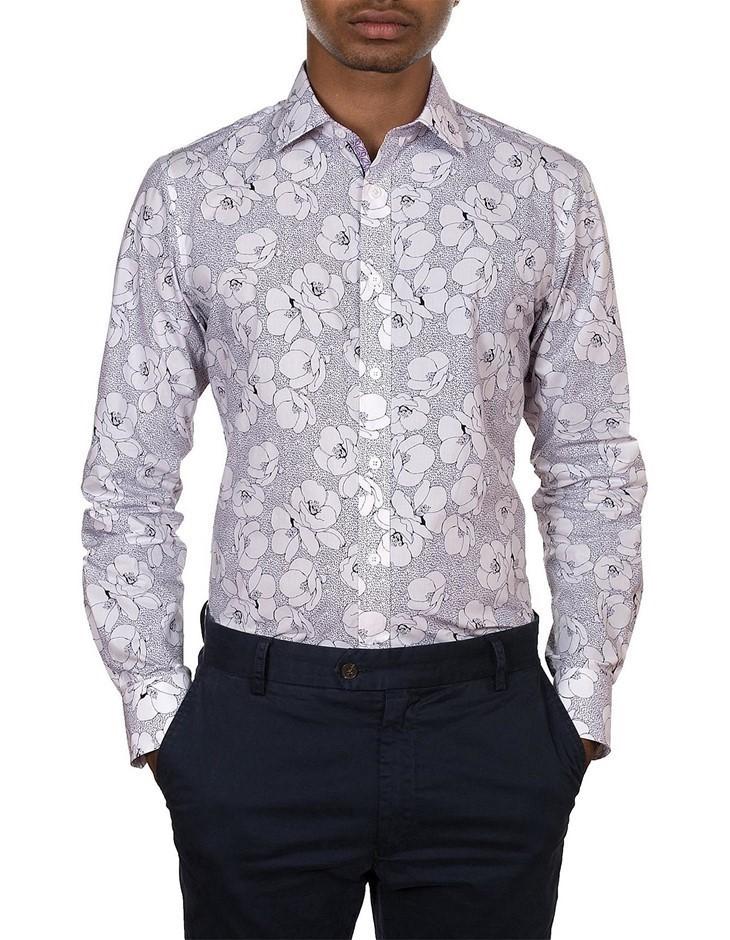 JAMES HARPER Floral Dash Print Shirt. Size S, Colour: Navy. 100% Cotton. Bu