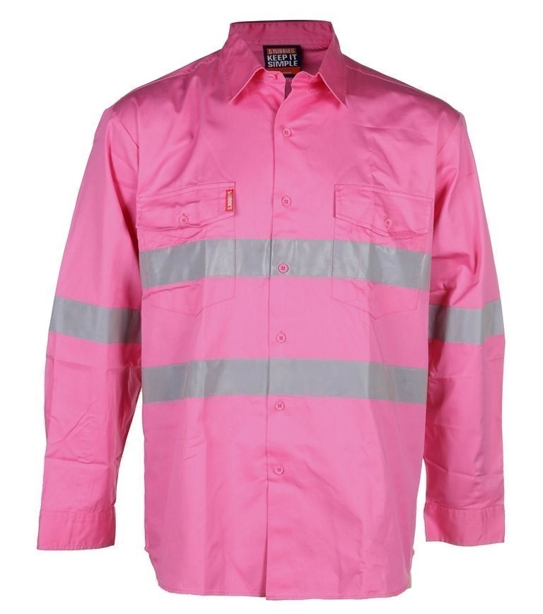 4 x STUBBIES Cotton Drill Shirts, Size M, Long Sleeve, 3M Reflective Tape,