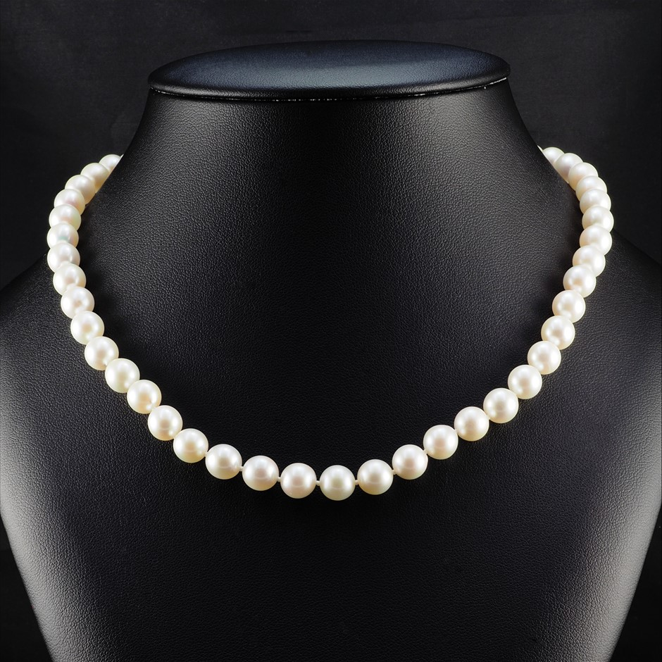 14ct White Gold, 7.7mm - 8.0mm Pearl Necklace