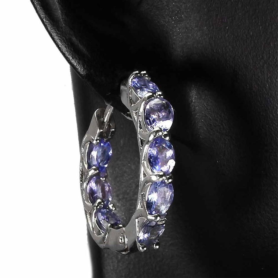 Stunning Genuine Tanzanite Hoop Earrings
