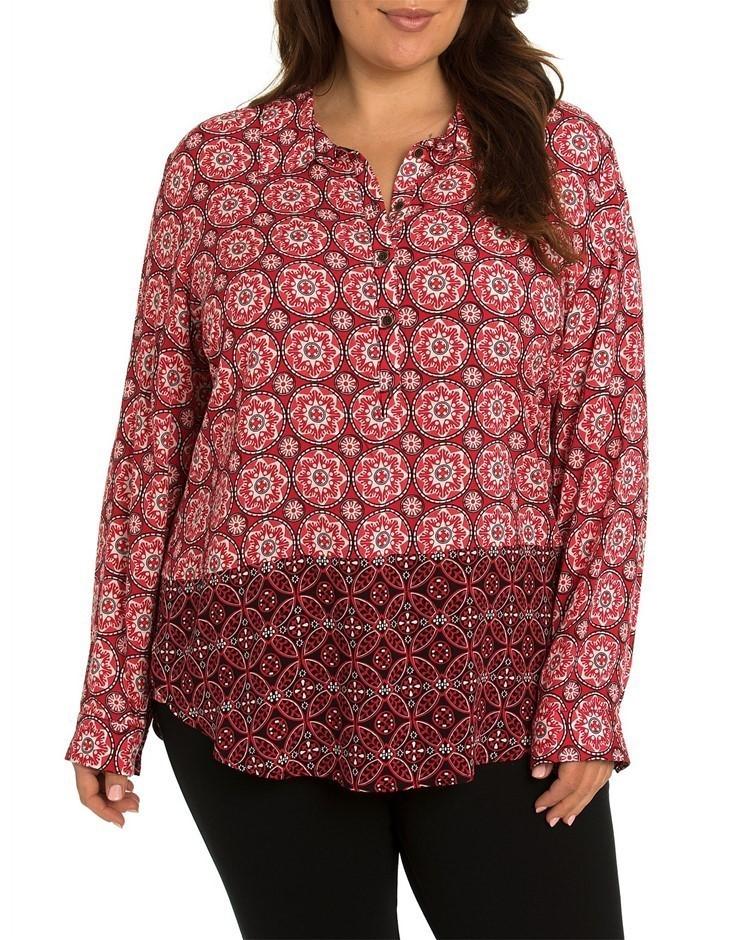 YARRA TRAIL L/S Ornament Spliced Shirt. Size 14, Colour Multi-Colour. Buyer