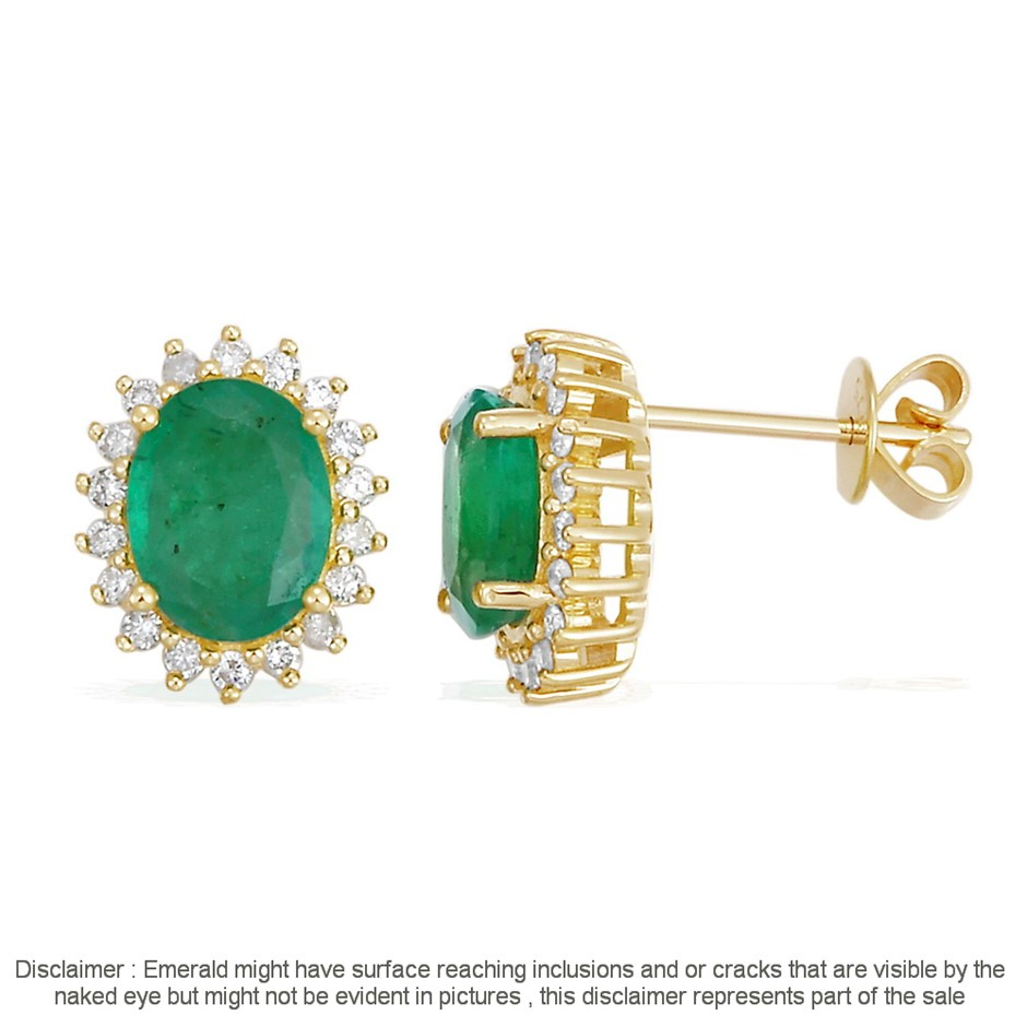 9ct Yellow Gold, 2.25ct Emerald and Diamond Earring