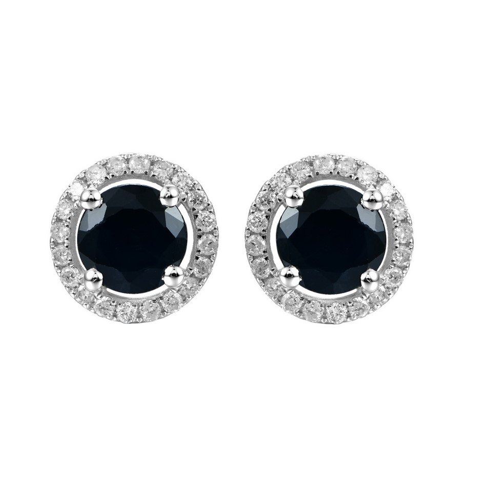 9ct White Gold, 2.50ct Blue Sapphire and Diamond Earring