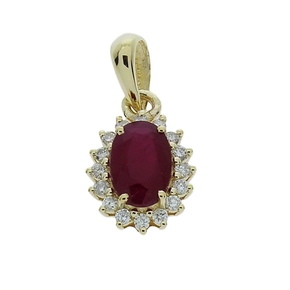 9ct Yellow Gold, 1.05ct Ruby and Diamond Pendant