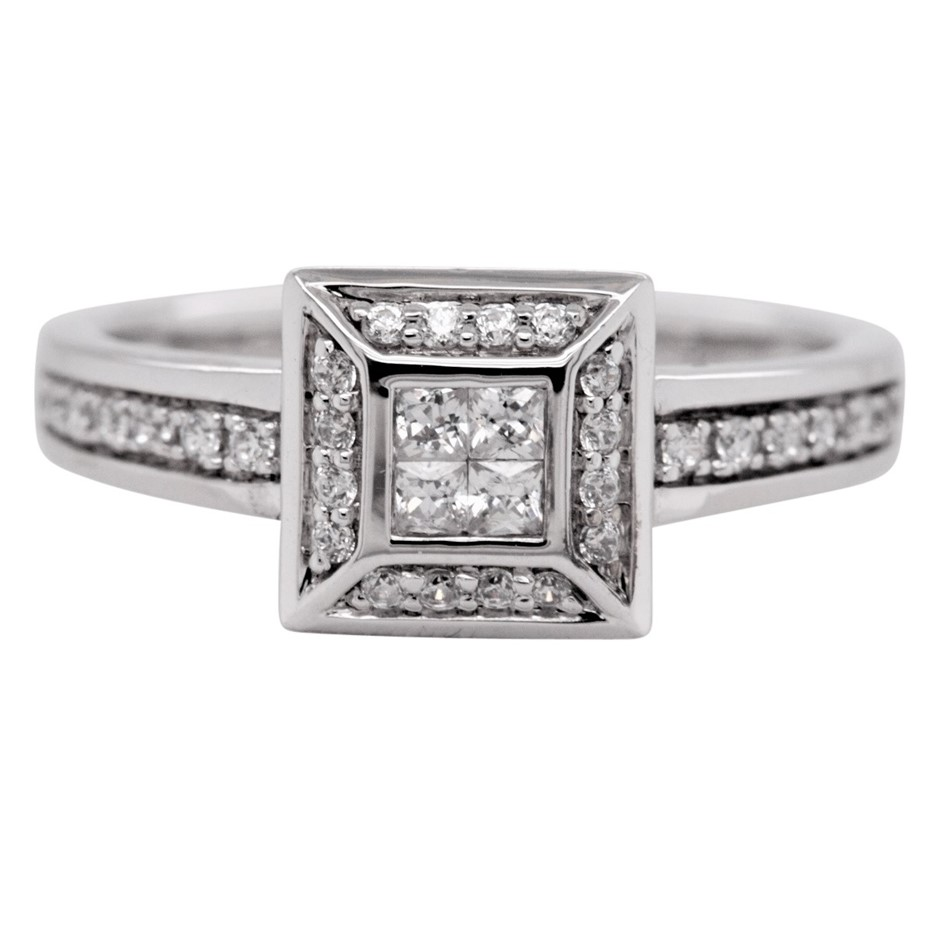 Sterling Silver White Princess Cut CZ Cluster Dress Ring.