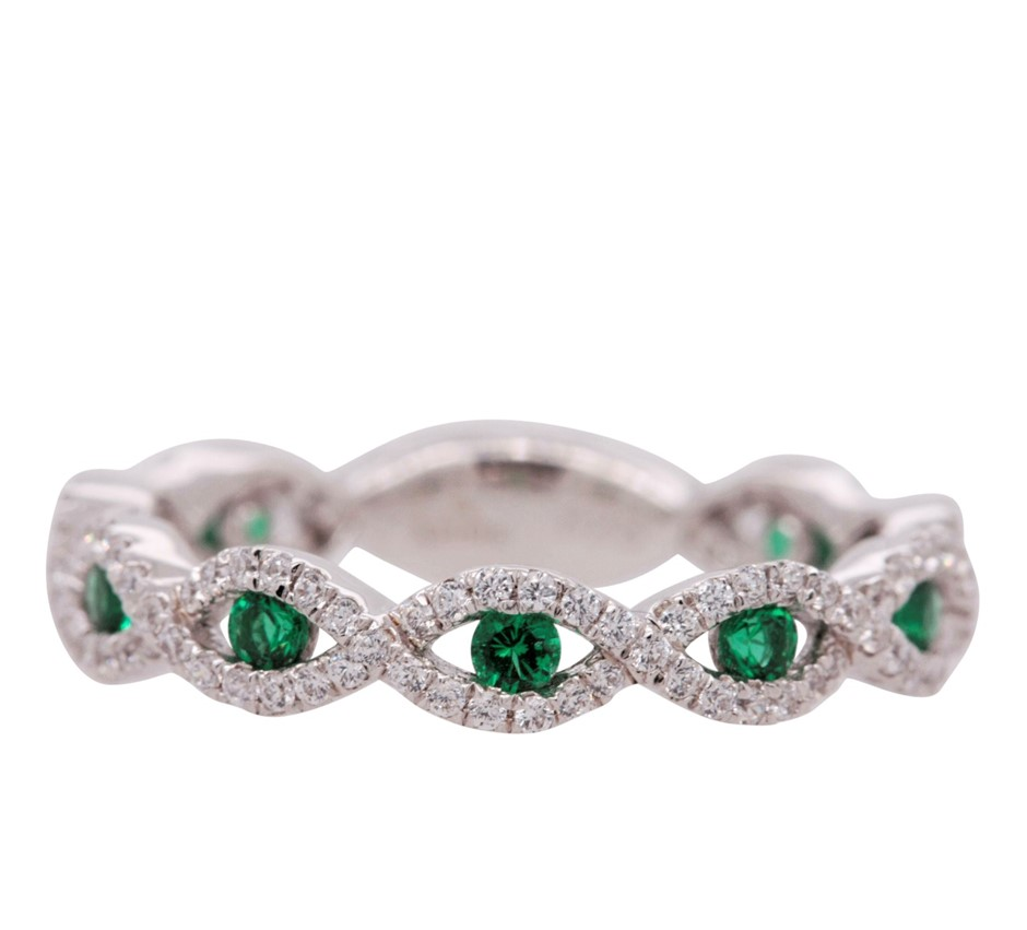 Sterling Silver White & Emerald CZ Infinity Dress Ring.
