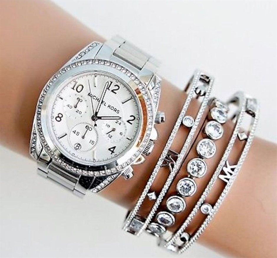 Michael Kors Couture Blair dual time glamorous chronograph watch.
