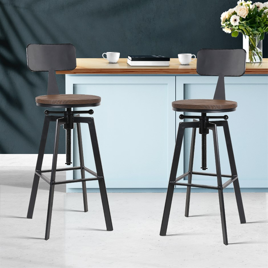 Artiss 2x Vintage Bar Stools Kitchen Bar Stool Industrial Chairs Rustic