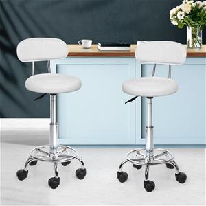 Artiss 2x Salon Stool Swivel Chair Backr